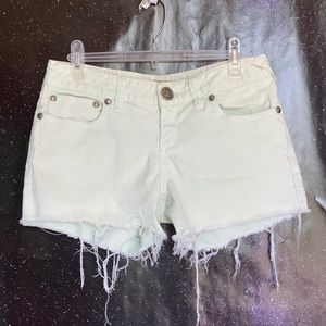 Free People- Lime Green Raw Hem Shorts size 29